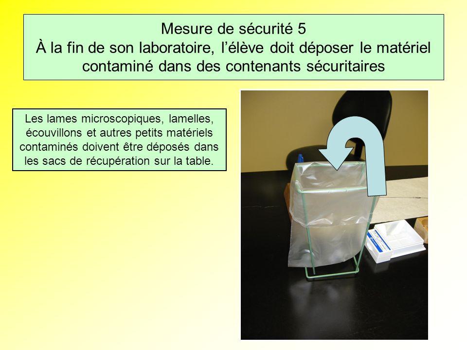 Mesure de sécurité 5 À la fin de son laboratoire, l'élève doit déposer le matériel contaminé dans des contenants sécuritaires