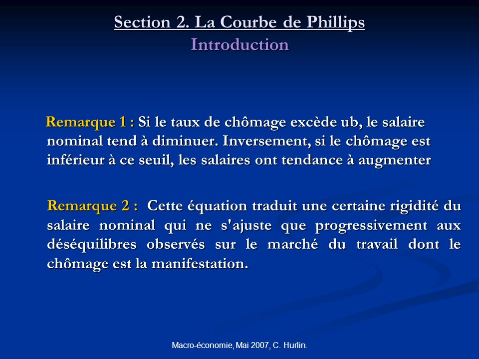 Section 2. La Courbe de Phillips Introduction