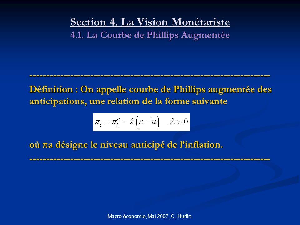 Section 4. La Vision Monétariste 4.1. La Courbe de Phillips Augmentée