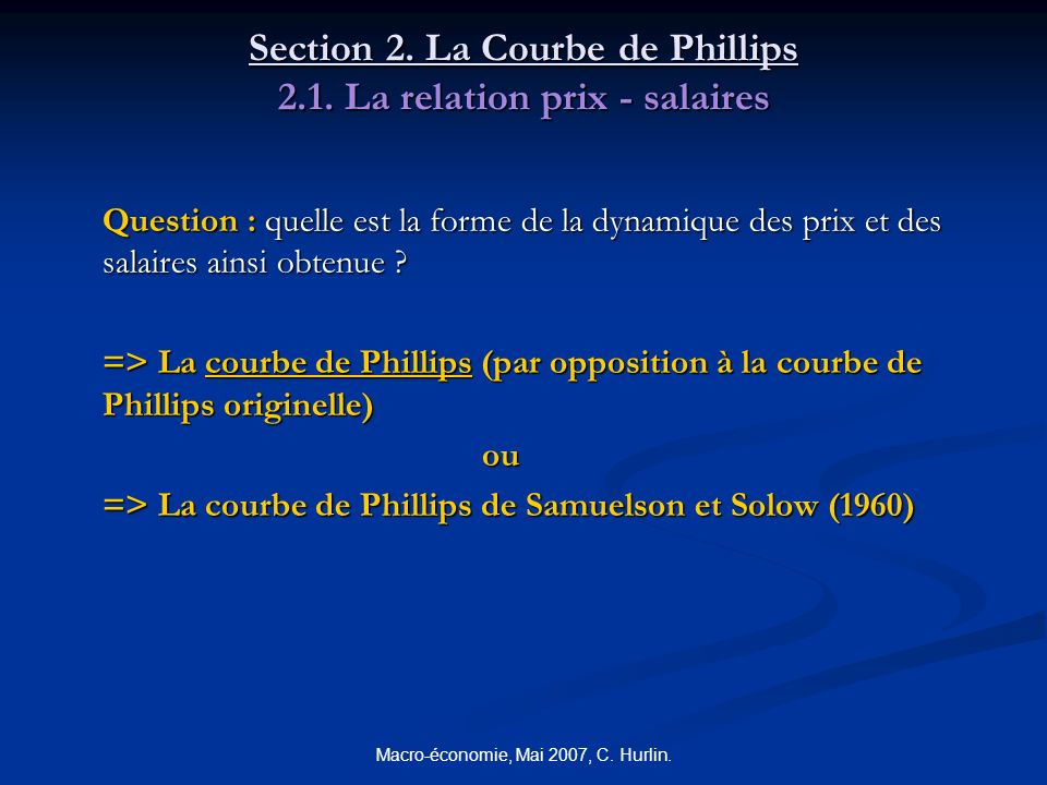 Section 2. La Courbe de Phillips 2.1. La relation prix - salaires