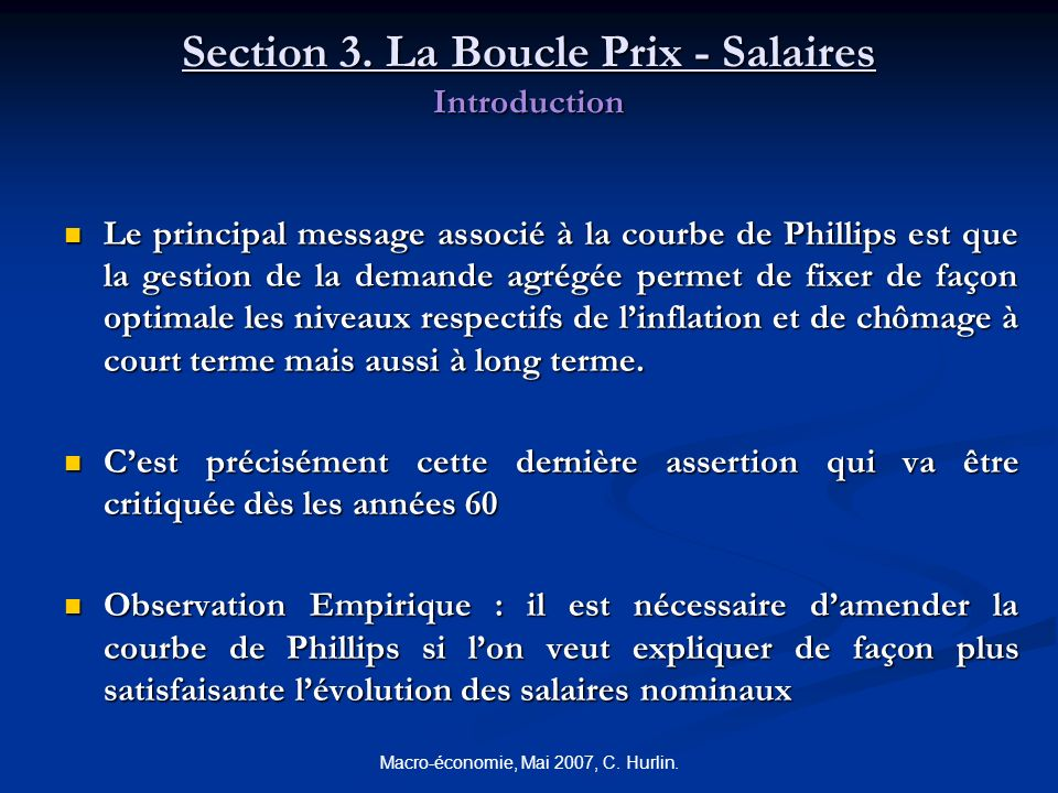 Section 3. La Boucle Prix - Salaires Introduction