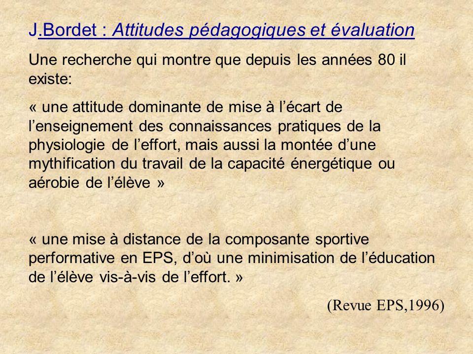 J.Bordet : Attitudes pédagogiques et évaluation
