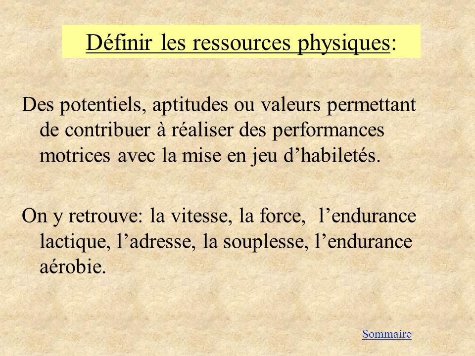 Définir les ressources physiques: