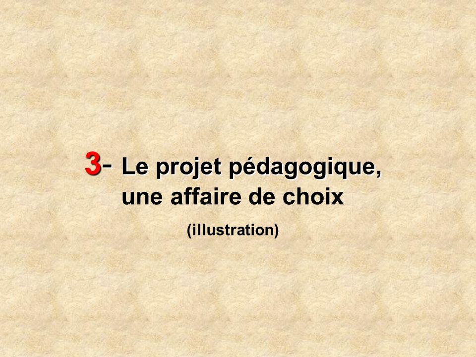 3- Le projet pédagogique, une affaire de choix