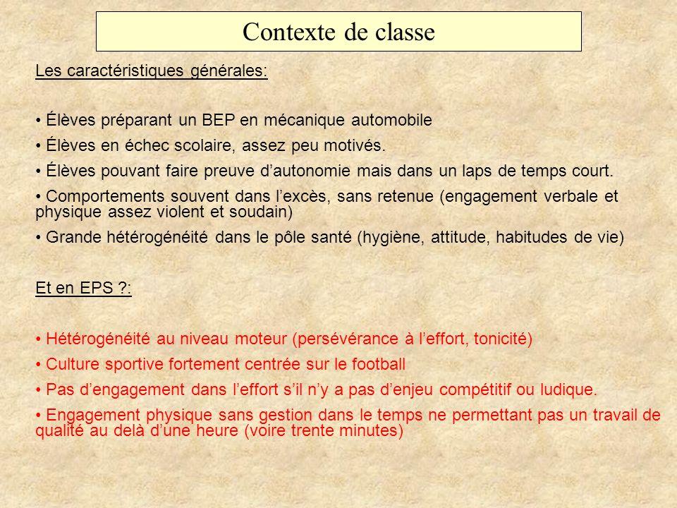 Contexte de classe Les caractéristiques générales: