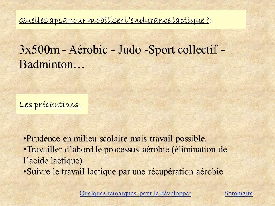 3x500m - Aérobic - Judo -Sport collectif - Badminton…