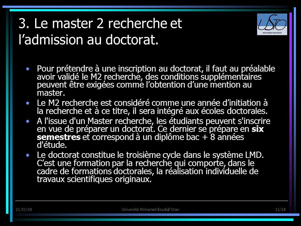 3. Le master 2 recherche et l'admission au doctorat.