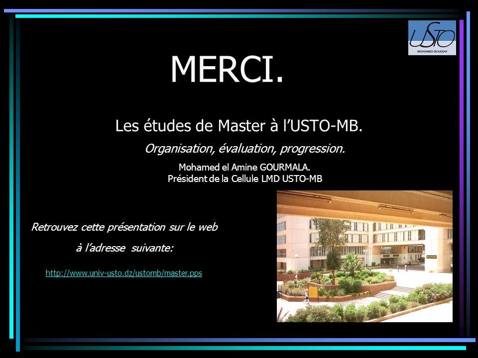 Les études de Master à l'USTO-MB.
