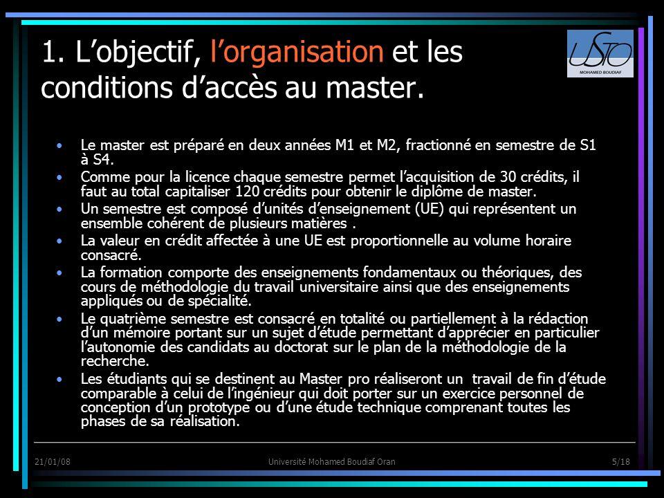 1. L'objectif, l'organisation et les conditions d'accès au master.