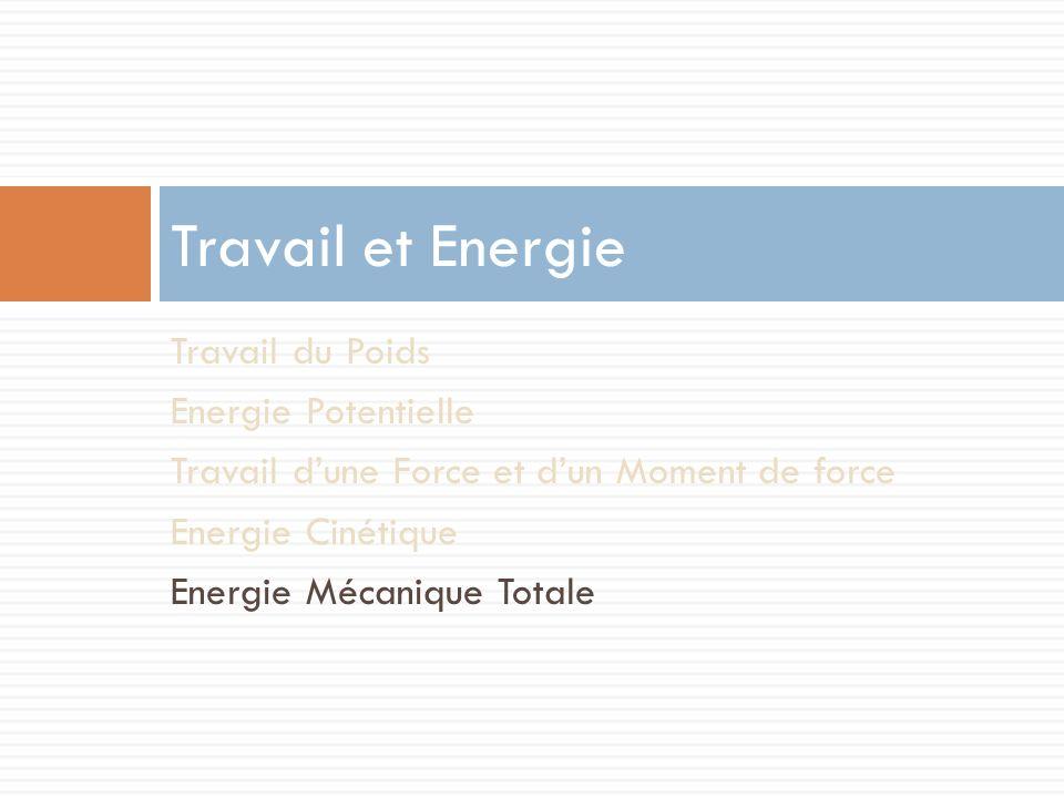 Travail et Energie Travail du Poids Energie Potentielle