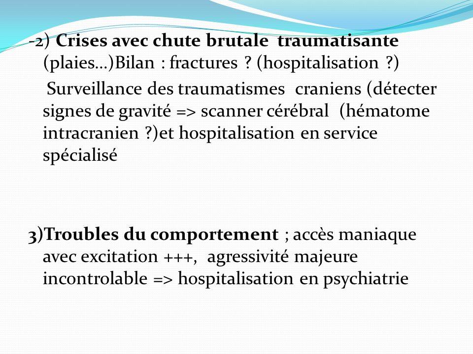 -2) Crises avec chute brutale traumatisante (plaies…)Bilan : fractures