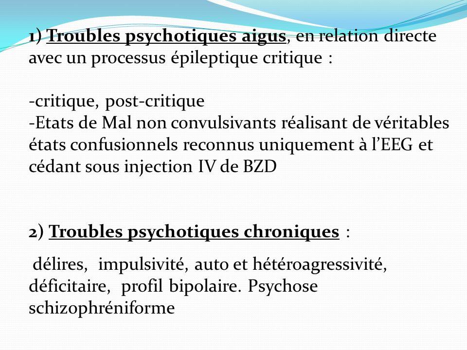 1) Troubles psychotiques aigus, en relation directe avec un processus épileptique critique :
