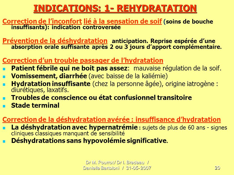 INDICATIONS: 1- REHYDRATATION
