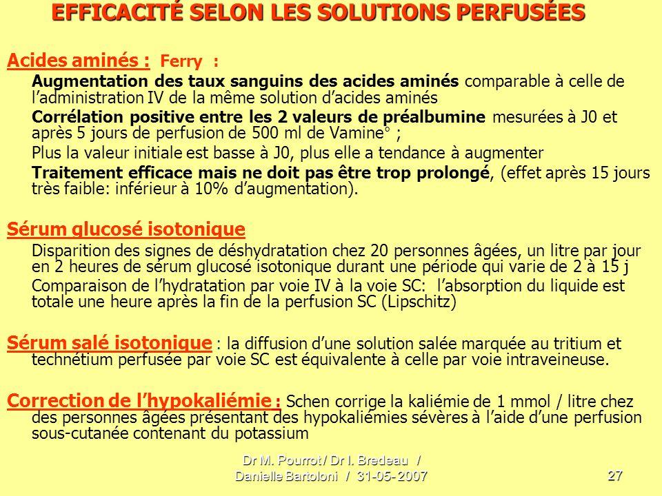 EFFICACITÉ SELON LES SOLUTIONS PERFUSÉES