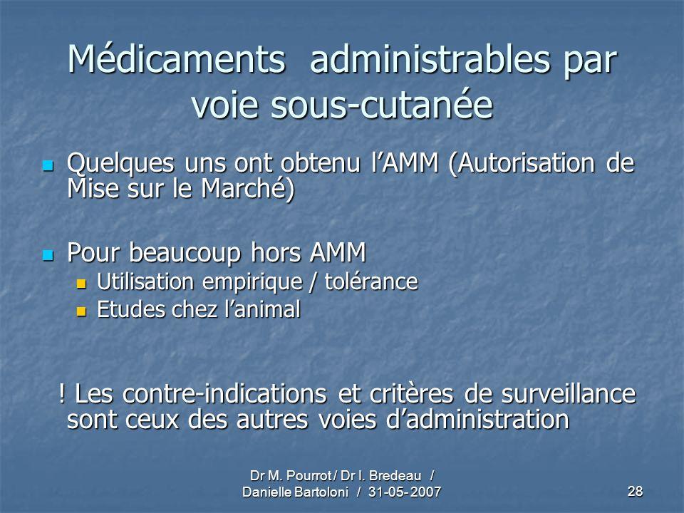 Médicaments administrables par voie sous-cutanée