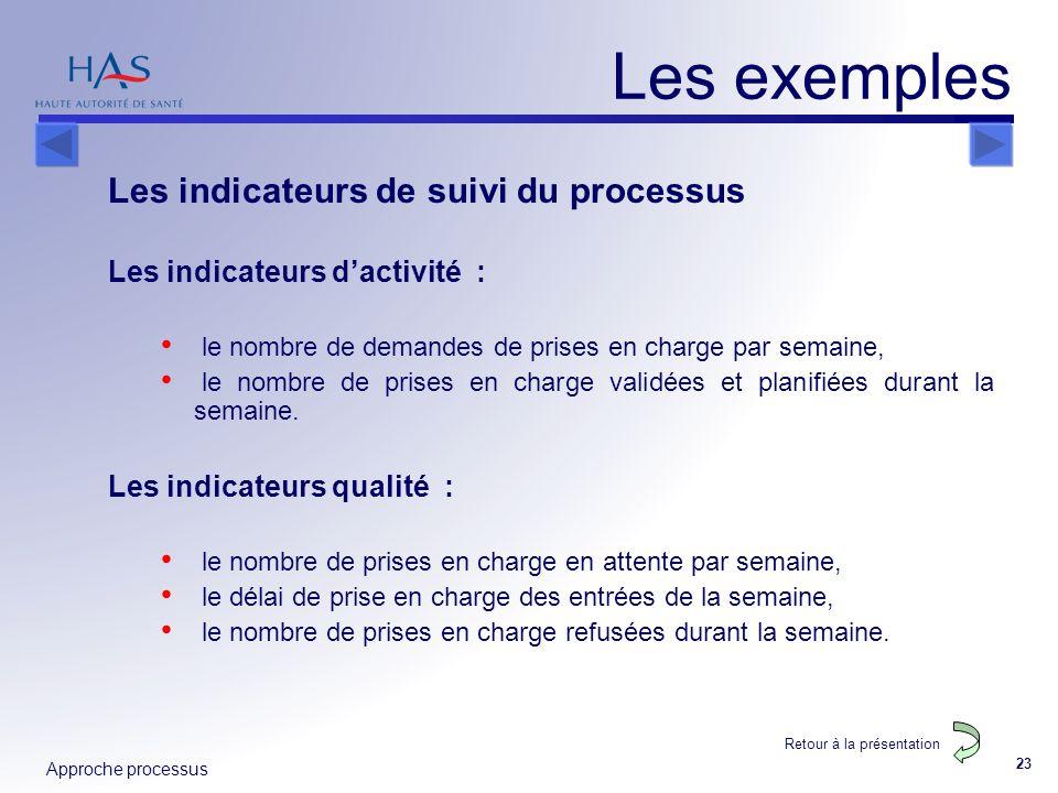 Les exemples Les indicateurs de suivi du processus