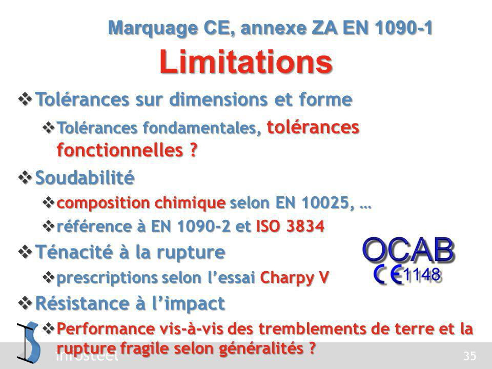 Marquage CE, annexe ZA EN 1090-1 Limitations
