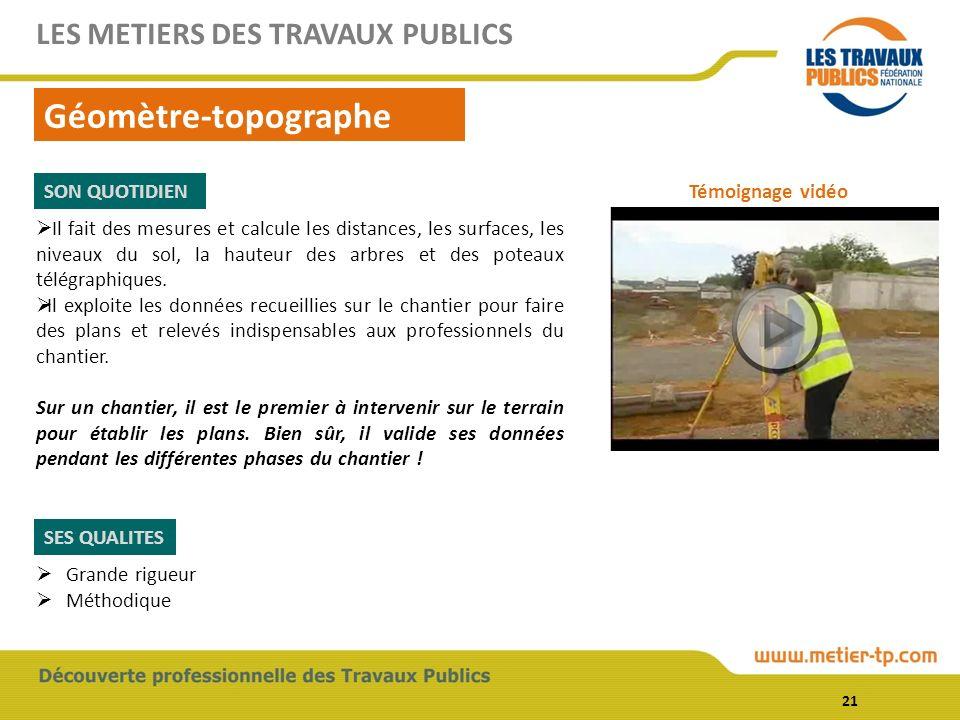 Géomètre-topographe LES METIERS DES TRAVAUX PUBLICS SON QUOTIDIEN