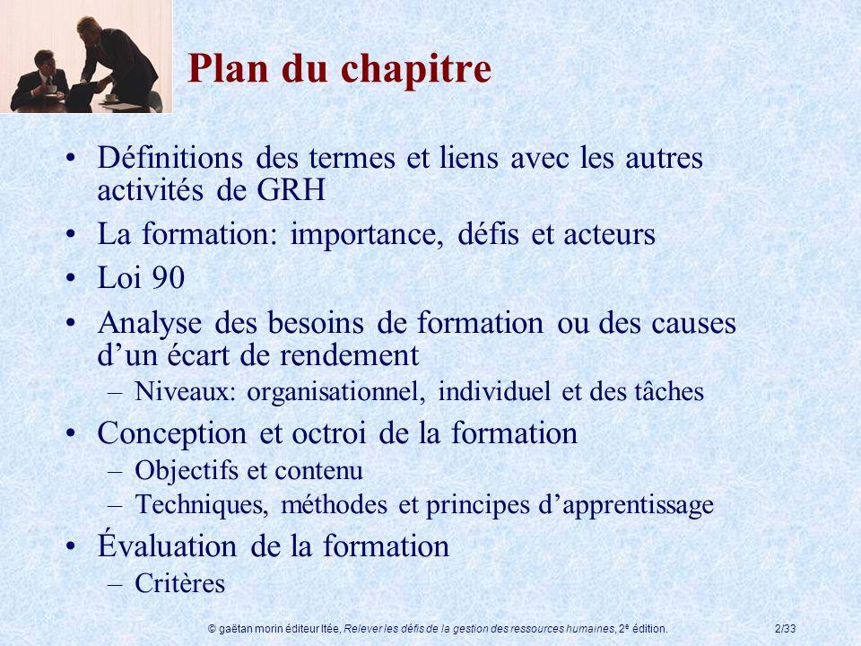 Plan du chapitre Définitions des termes et liens avec les autres activités de GRH. La formation: importance, défis et acteurs.
