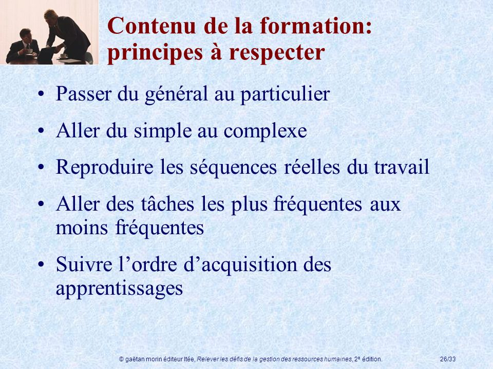 Contenu de la formation: principes à respecter