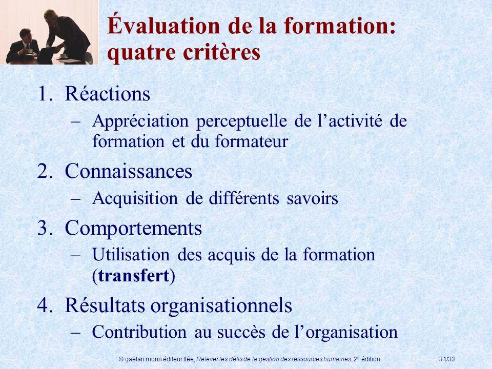 Évaluation de la formation: quatre critères