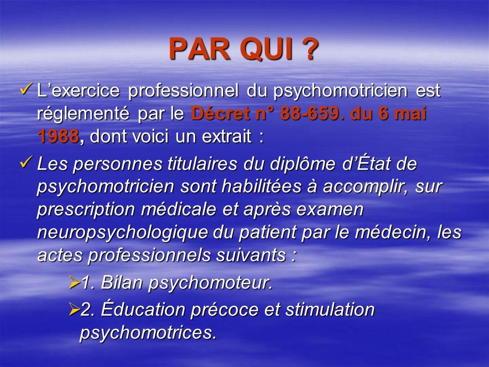 PAR QUI L'exercice professionnel du psychomotricien est réglementé par le Décret n° 88-659. du 6 mai 1988, dont voici un extrait :