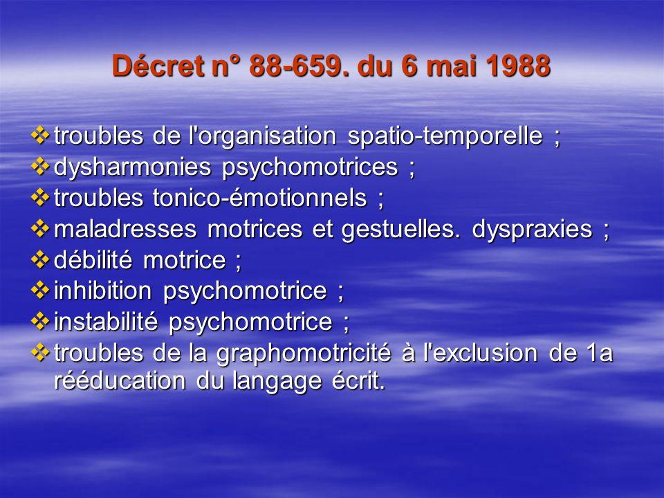 Décret n° 88-659. du 6 mai 1988 troubles de l organisation spatio-temporelle ; dysharmonies psychomotrices ;