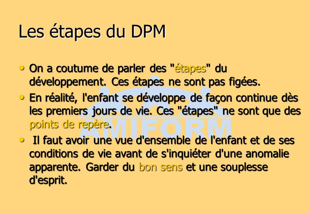 Les étapes du DPM On a coutume de parler des étapes du développement. Ces étapes ne sont pas figées.
