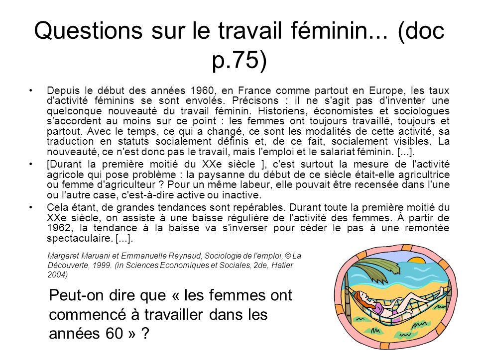 Questions sur le travail féminin... (doc p.75)