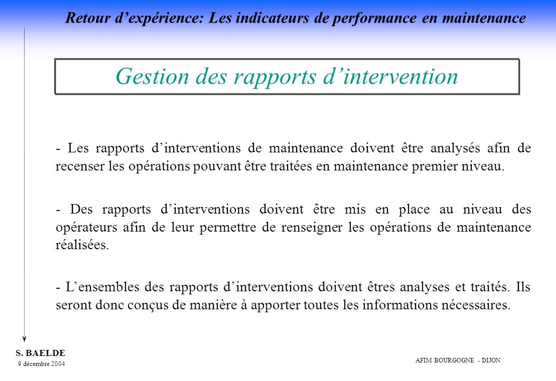 Gestion des rapports d'intervention