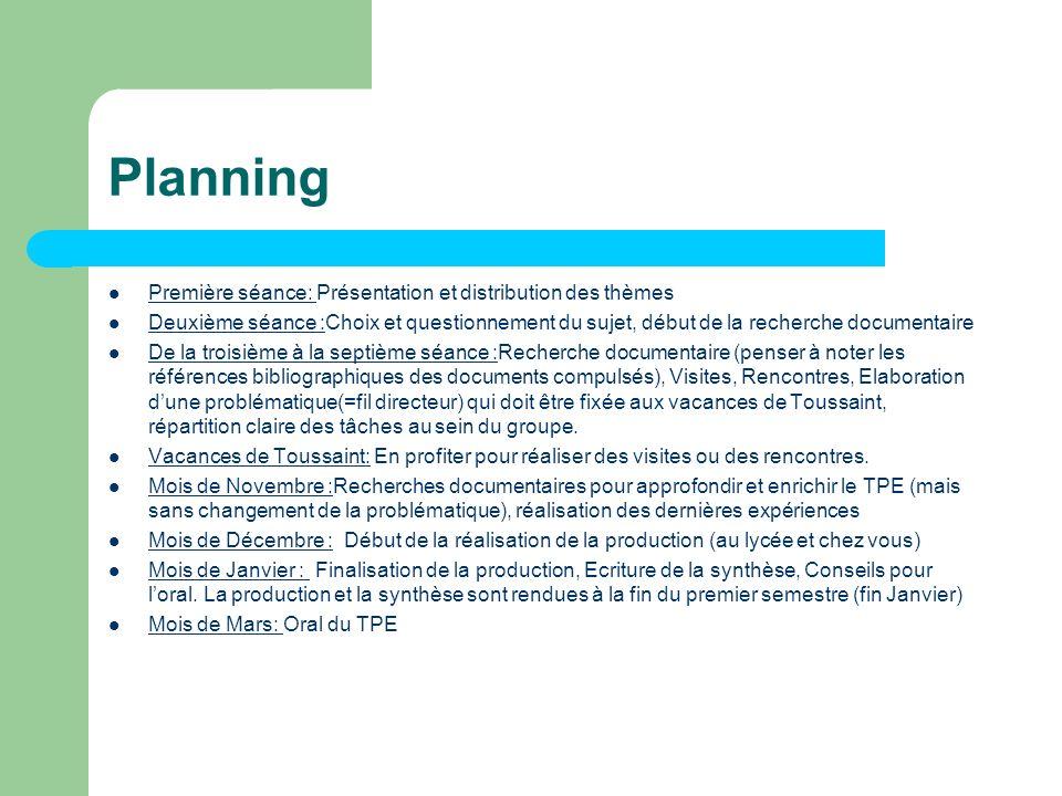 Planning Première séance: Présentation et distribution des thèmes