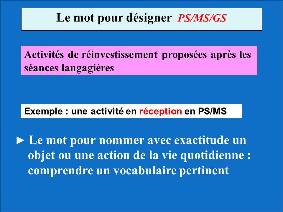 Le mot pour désigner PS/MS/GS