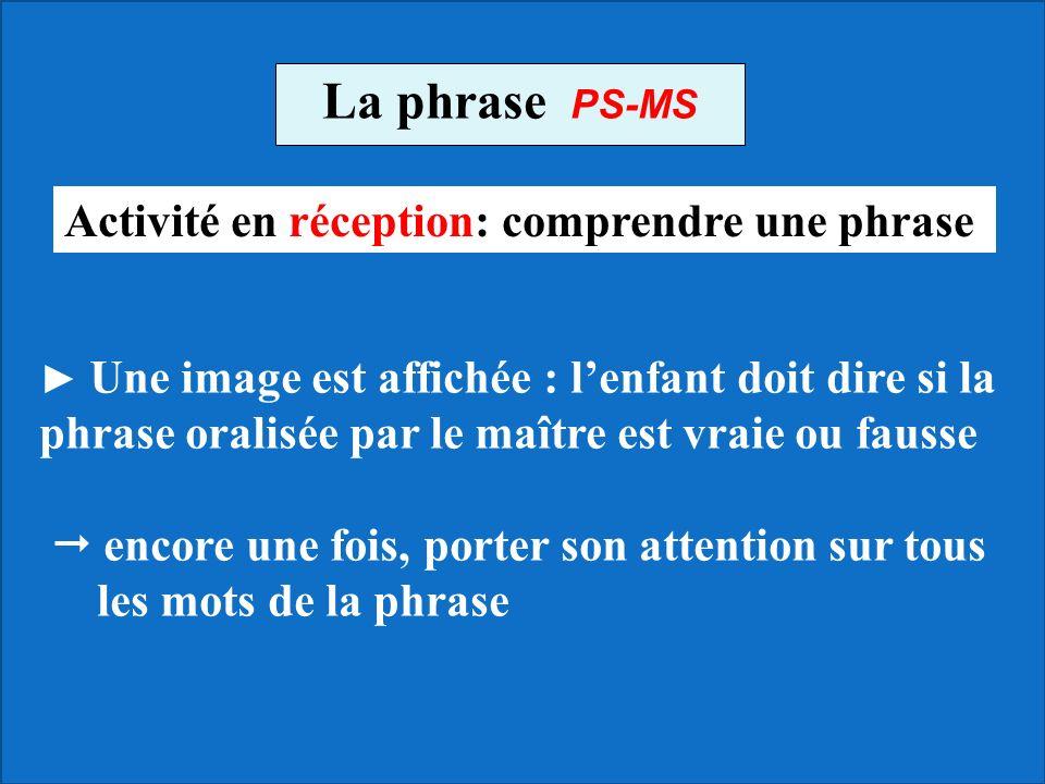 La phrase PS-MS Activité en réception: comprendre une phrase
