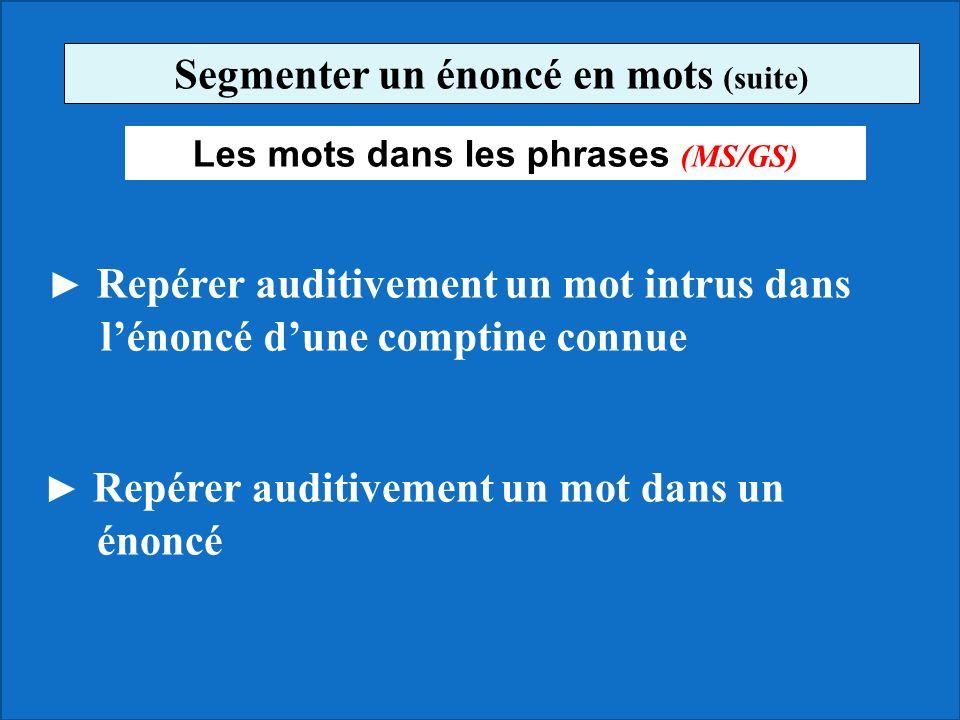 Segmenter un énoncé en mots (suite) Les mots dans les phrases (MS/GS)