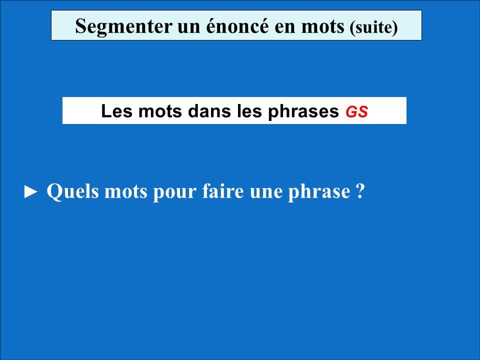 Segmenter un énoncé en mots (suite) Les mots dans les phrases GS
