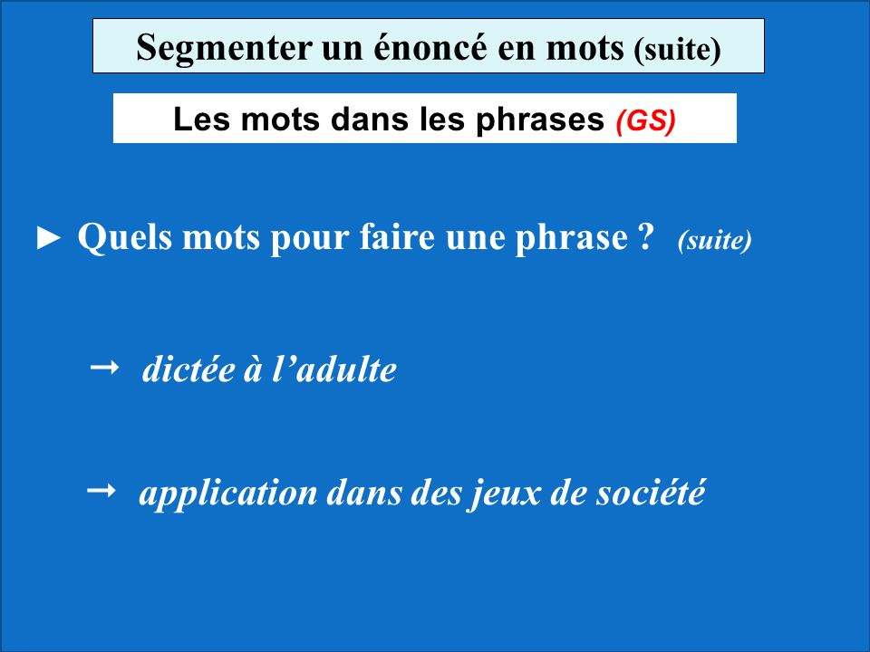 Segmenter un énoncé en mots (suite) Les mots dans les phrases (GS)