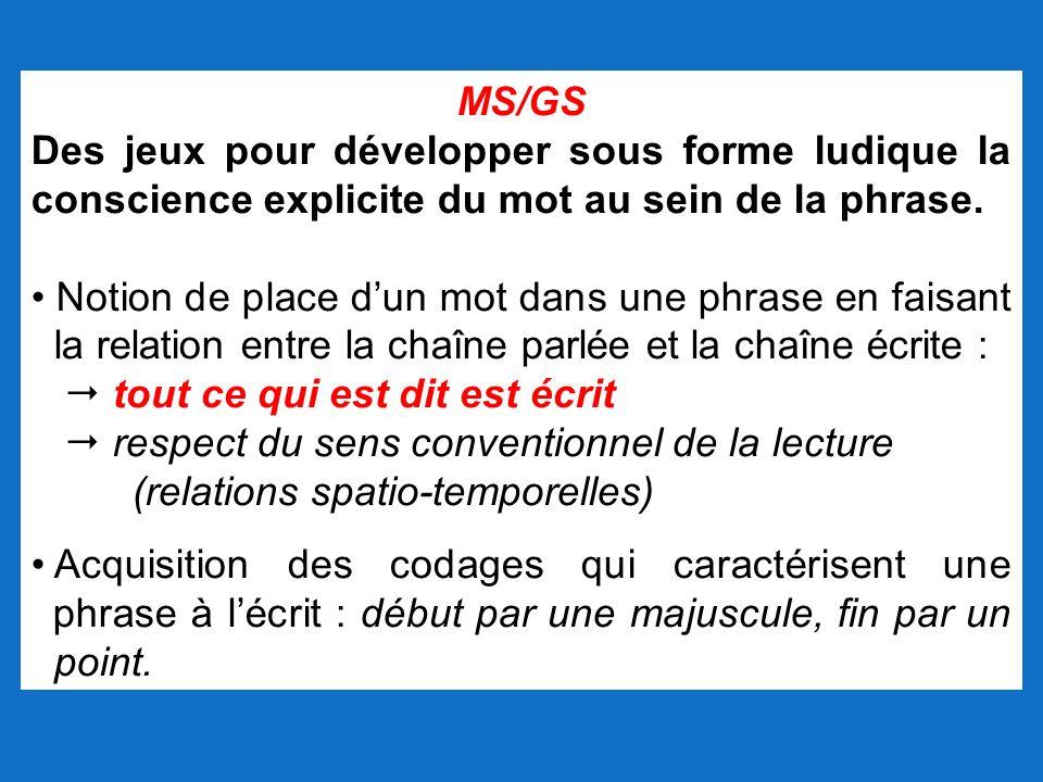 MS/GS Des jeux pour développer sous forme ludique la conscience explicite du mot au sein de la phrase.