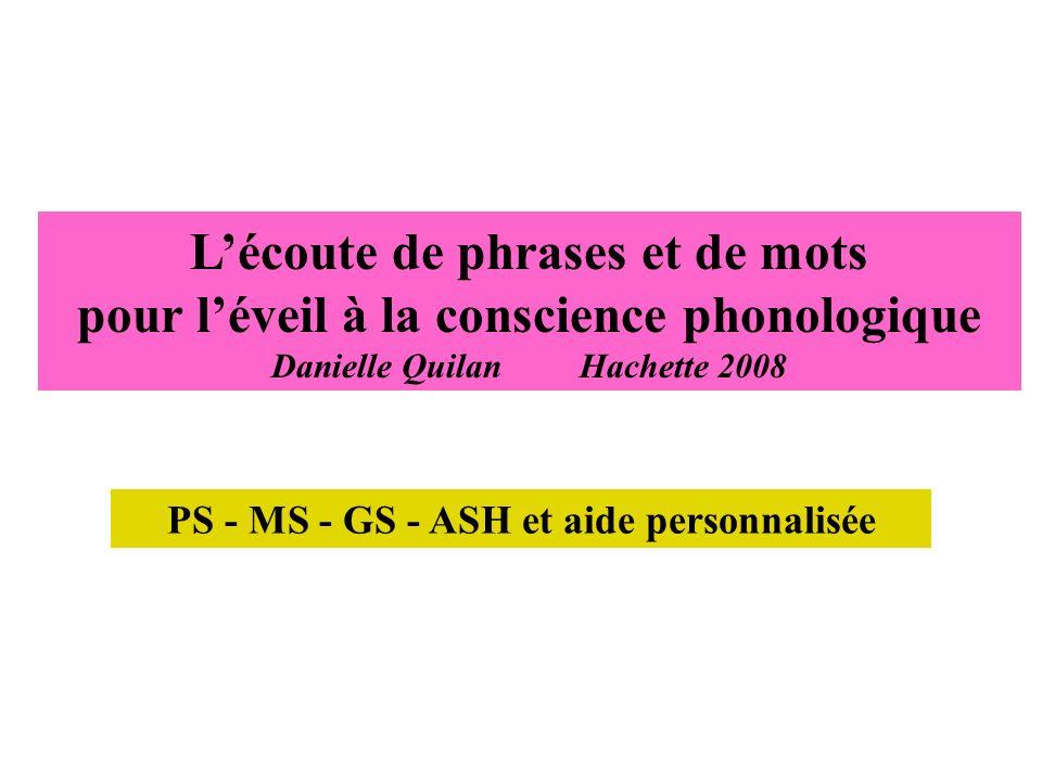 PS - MS - GS - ASH et aide personnalisée