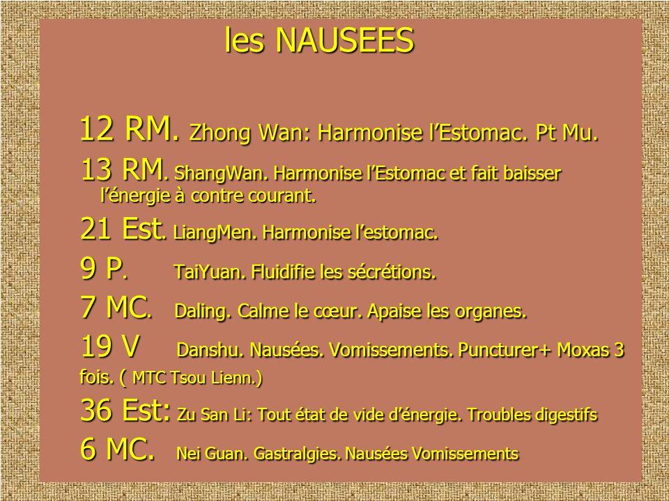 12 RM. Zhong Wan: Harmonise l'Estomac. Pt Mu.