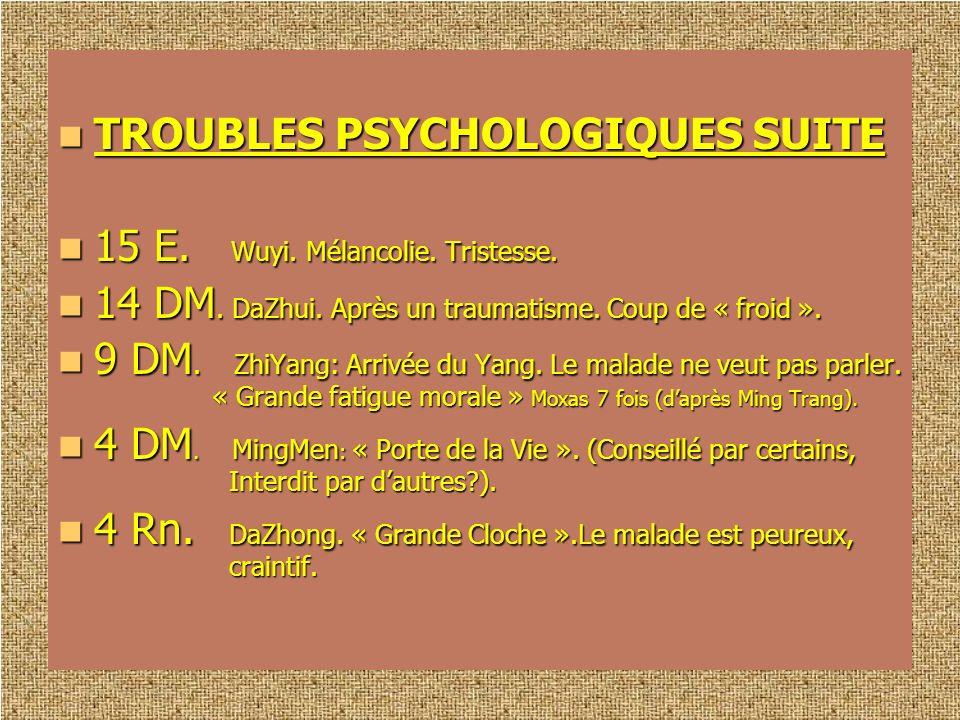TROUBLES PSYCHOLOGIQUES SUITE
