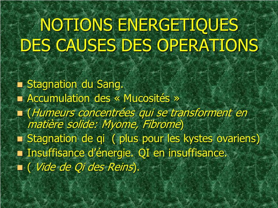 NOTIONS ENERGETIQUES DES CAUSES DES OPERATIONS
