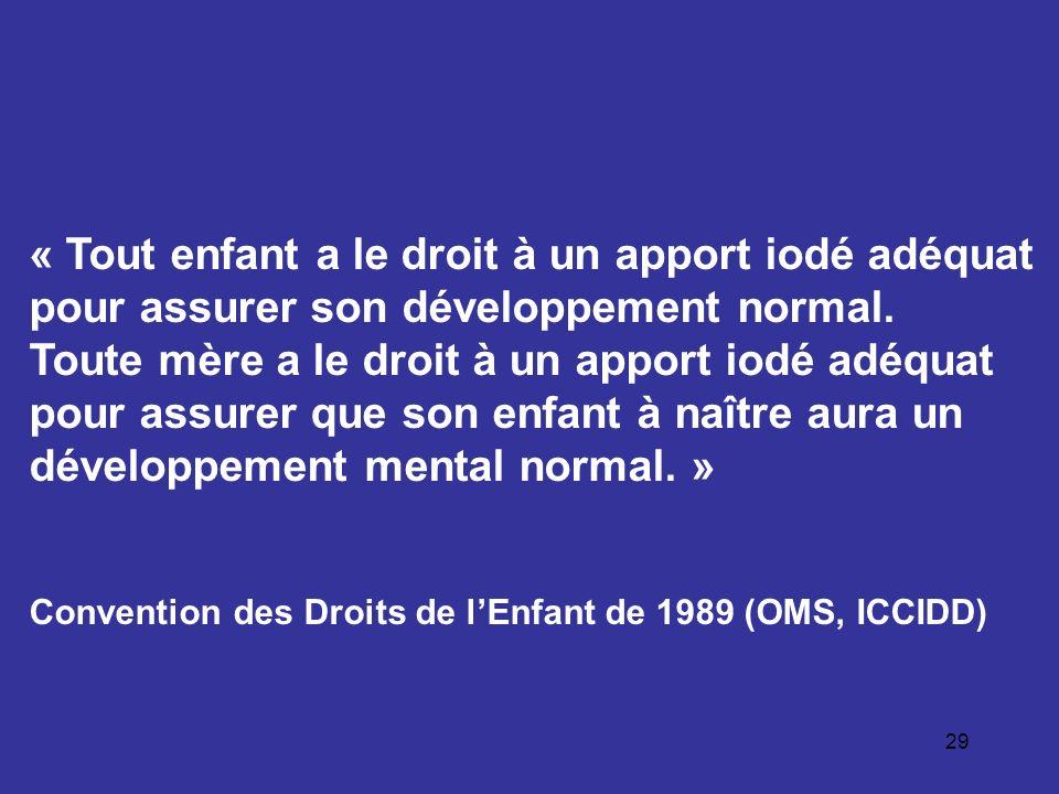 « Tout enfant a le droit à un apport iodé adéquat pour assurer son développement normal.