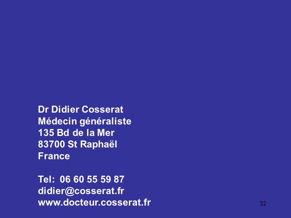 Dr Didier Cosserat Médecin généraliste. 135 Bd de la Mer. 83700 St Raphaël. France. Tel: 06 60 55 59 87.