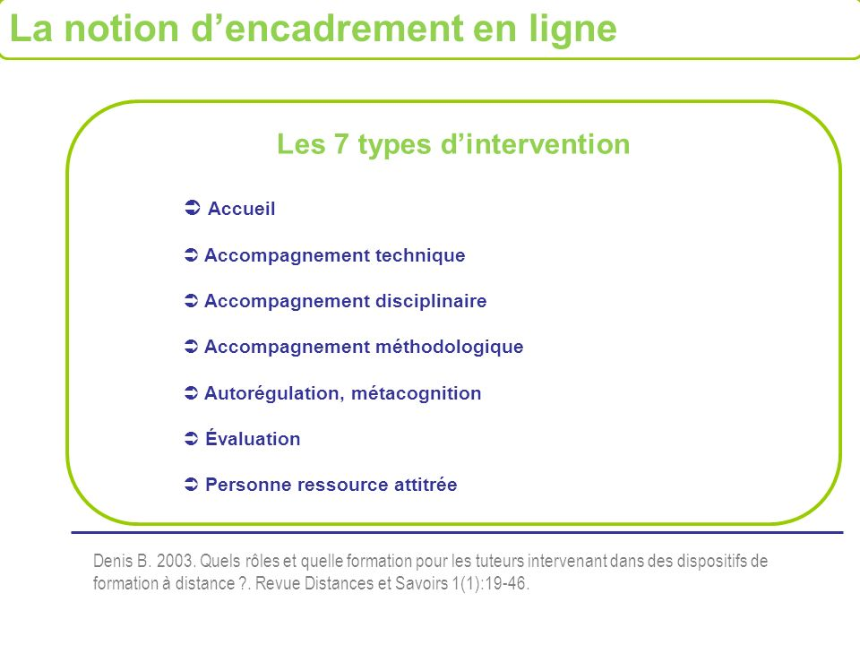Les 7 types d'intervention