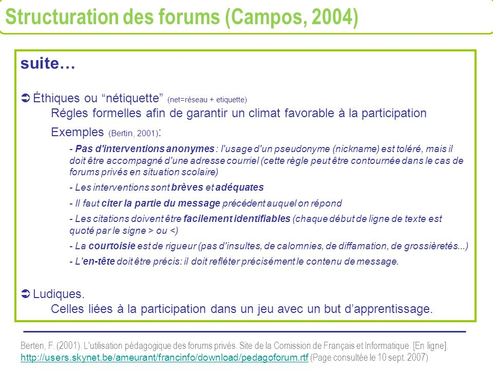 Structuration des forums (Campos, 2004)