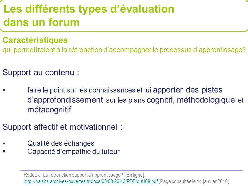Les différents types d'évaluation dans un forum
