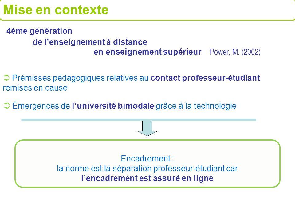 Mise en contexte 4ème génération de l'enseignement à distance en enseignement supérieur Power, M. (2002)