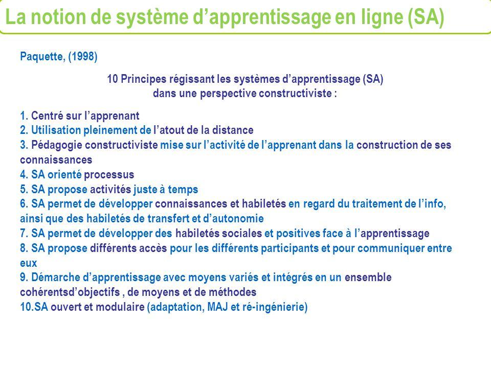 La notion de système d'apprentissage en ligne (SA)