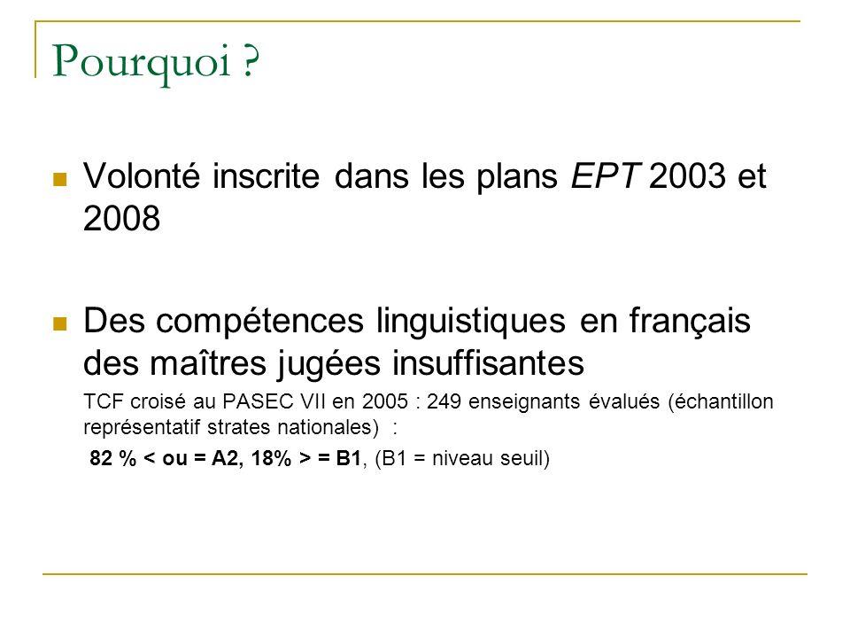Pourquoi Volonté inscrite dans les plans EPT 2003 et 2008