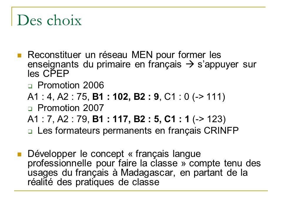 Des choix Reconstituer un réseau MEN pour former les enseignants du primaire en français  s'appuyer sur les CPEP.
